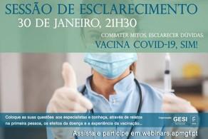 imagem do post do COVID-19 Sessão de esclarecimento à população online | 30 janeiro | 21H30